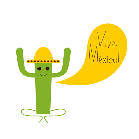 fab: Viva Mexico greeting card with happy cactus character in yellow sombrero and lettering Viva Mexico isolated on white background Illustration