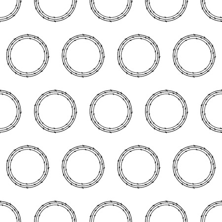 insoluble: Seamless pattern with repeating circles of three black colored barbed wires on white background