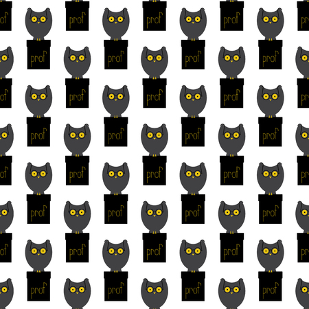 it is isolated: Seamless pattern with big grey owl with large eyes in old-fashioned round spectacles sitting on black cathedra with yellow lettering prof on it isolated on white background. Flat style illustration