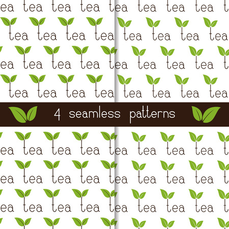 antioxidant: Set of four seamless patterns with repeating brown colored lettering tea with two green leaves over letter t isolated on white background