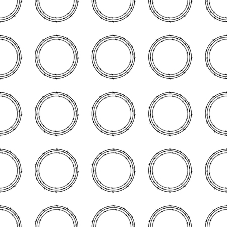 barbed wires: Seamless background with repeating circles of three black colored barbed wires on white