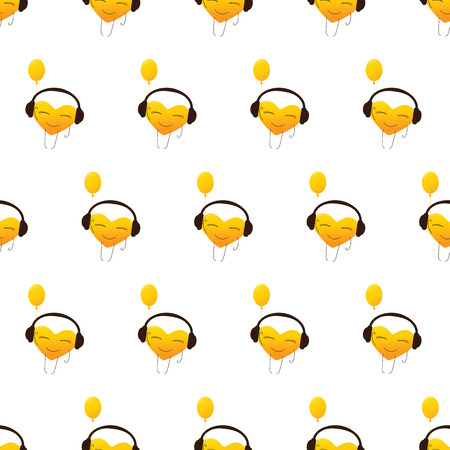 fab: Seamless pattern with repeating golden colored cartoon heart character in headphones with balloon in one hand isolated on white background