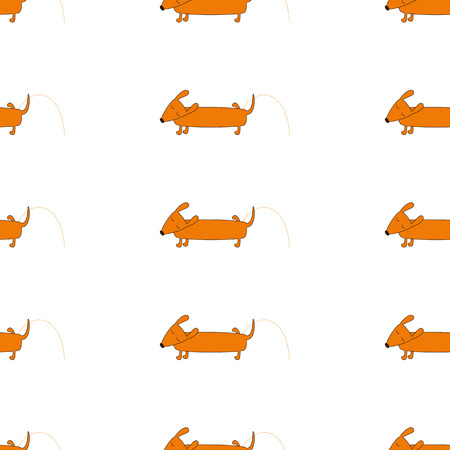 badger dog: Seamless background with repeating orange colored brown contoured dachshund isolated on white. Cute pissing dog character