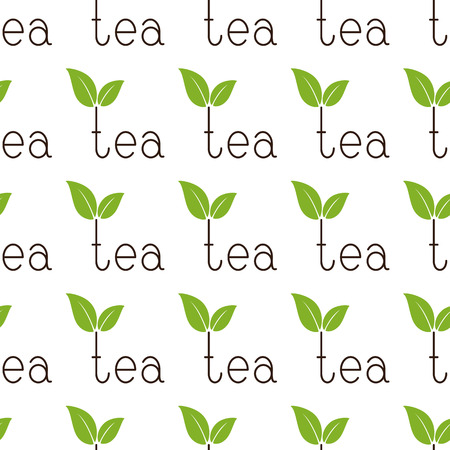 fab: Seamless background with repeating brown colored lettering tea with two green leaves over letter t isolated on white background
