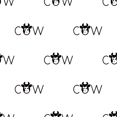kiddy: Seamless pattern with repeating spotted cow lettering o in the shape of cow`s head with horns isolated on white background