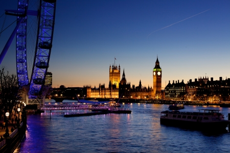 big eye: London at twilight. London eye, County Hall, Westminster Bridge, Big Ben and Houses of Parliament.