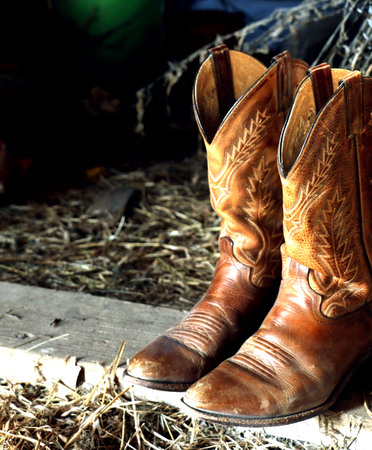 ranching: Cowboy Boots in Old Barn