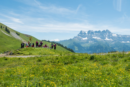 snow break: Summer view in the french alps. A group of bikers having a break high up in the mountains. Green grass and yellow flowers in front. Maountain range with snow as background. Stock Photo