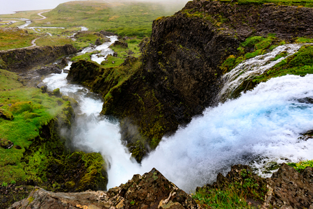 View down from Dynjandi waterfall in the westfjords of iceland