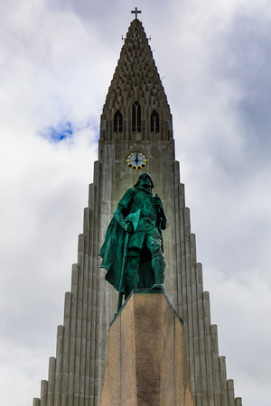 The statue of Lief Erikson in front of the Hallgrimskirkja church in reykjavik, iceland