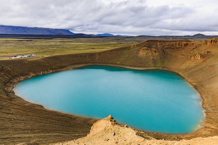 Viti crater at krafla geothermal area iceland in summer Stock Photo