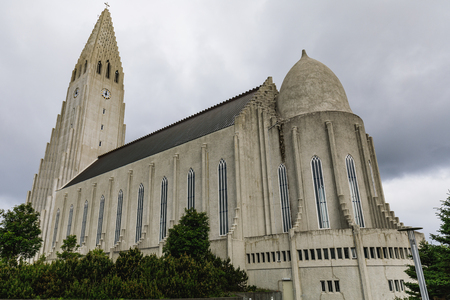 The Hallgrimskirkja church in reykjavik in iceland on a cloudy day Stock Photo