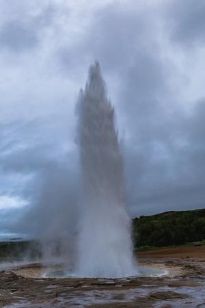 Geyser strokkur eruption in the geysir area iceland