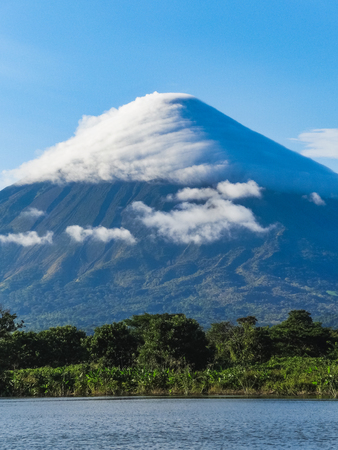View of volcano conception with clouds in Ometepe Island, Nicaragua