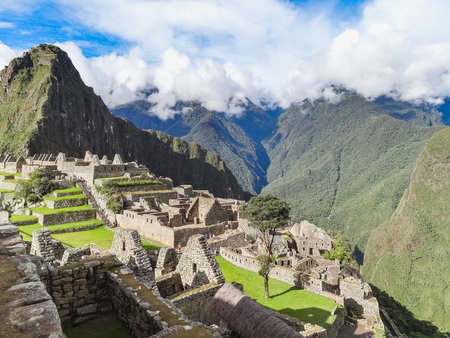 View of the ancient inca city of machu picchu the th century inca site lost city of the incas Stock Photo
