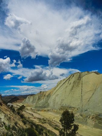 Real dinosaur footprint imprinted in the rock nacional park in sucre bolivia Stock Photo