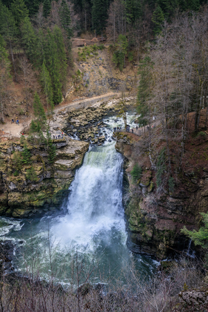 Saut du doubs biggest waterfall in the region of doubs border france switzerland Stock Photo - 99901149