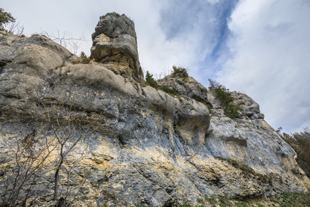 Rock like a face near saut du doubs waterfall in the region of doubs switzerland