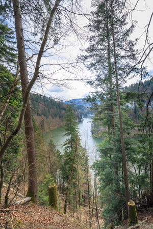 Fantastic view to the river doubs near saut du doubs waterfall switzerland