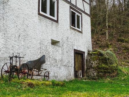 Old house near saut du doubs waterfall in the region of doubs switzerland Stock Photo