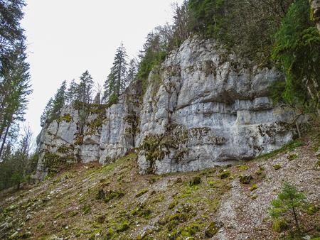 Stone formations near saut du doubs waterfall in the region of doubs switzerland