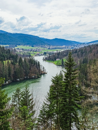 Perfect view to the river doubs near saut du doubs waterfall switzerland Stock Photo