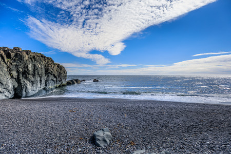 Amazing view to the fantastic coastline of iceland summer 版權商用圖片