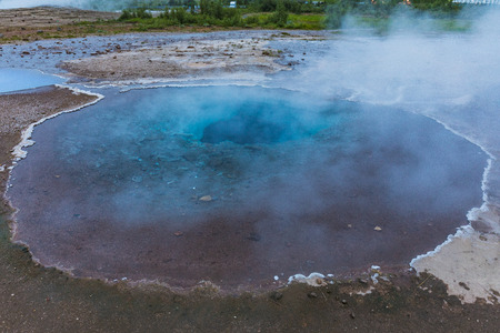 hot steaming spots in the geysir area in iceland