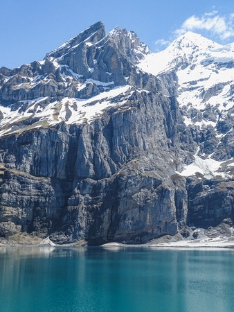Amazing tourquise Oeschinnensee with Swiss Alps Kandersteg switzerland