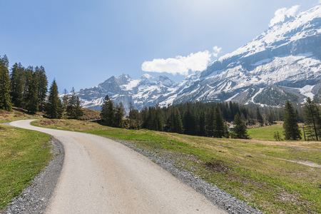 Panorama view of the Alps on a hiking path near Kandersteg switzerland