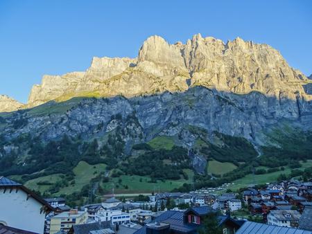 Amazing landscape of the Gemmi cliff under sunlight in Switzerland, Europe Stok Fotoğraf
