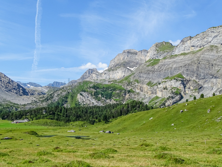 Amazing landscape on high mountain route through the Gemmi Pass in Switzerland, Europe Banco de Imagens