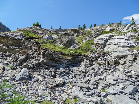 Amazing landscape on high mountain route through the Gemmi Pass in Switzerland, Europe Фото со стока