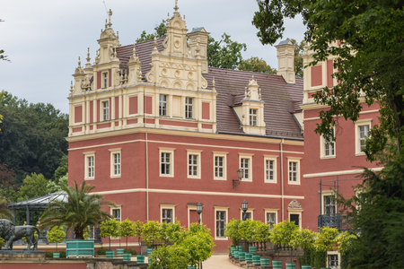 Beautiful red castle of Fuerst Pueckler in Bad Muskau Germany