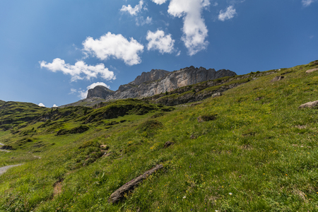 Amazing HDR landscape on high mountain route through the Gemmi Pass in Switzerland, Europe