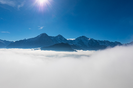 panorama view of swiss alps mountains Eiger, Moench and Jungfrau from Schynige Platte in switzerland