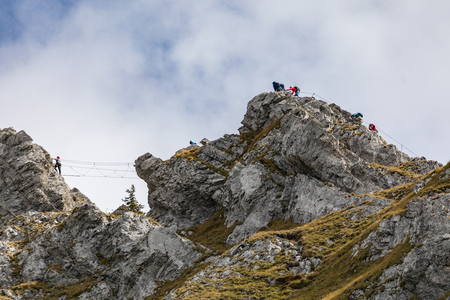 Climbing on mount Brunni at Engelberg in the Swiss alps in summer Stock Photo