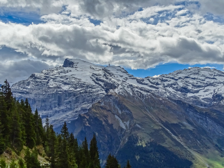 Hiking on mount Brunni at Engelberg in the Swiss alps in summer Stock Photo