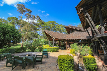 Safari lodge in the masai mara kenya africa Standard-Bild - 113970769