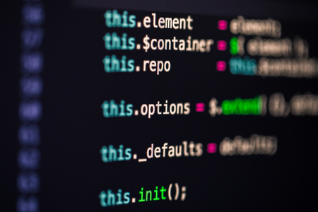 Developer screen with colored website programming code, php Stock fotó