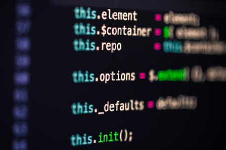 Pantalla de desarrollador con código de programación de sitios web en color, php Foto de archivo
