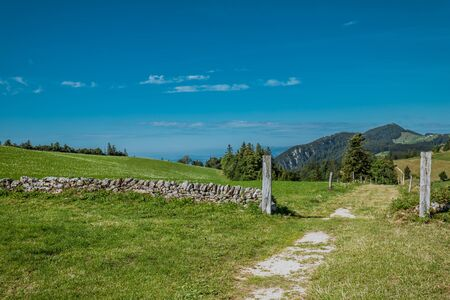 hiking on weissenstein mountain in switzerland, panorama of swiss alps, solothurn Stock Photo - 128611683
