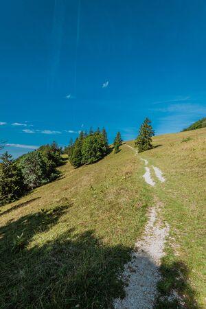 hiking on weissenstein mountain in switzerland, panorama of swiss alps, solothurn Stock Photo - 128611679