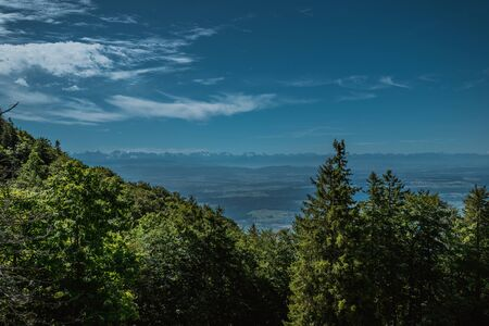 hiking on weissenstein mountain in switzerland, panorama of swiss alps, solothurn Stock Photo - 128611689