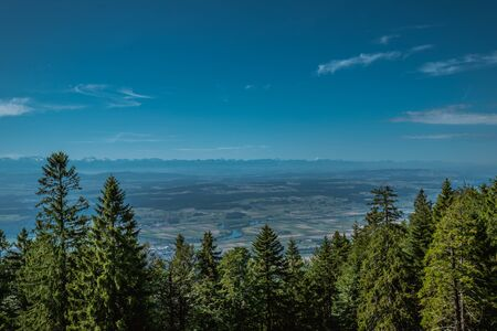 hiking on weissenstein mountain in switzerland, panorama of swiss alps, solothurn Stock Photo - 128611699