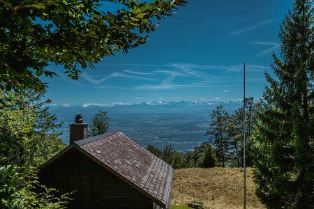 hiking on weissenstein mountain in switzerland, panorama of swiss alps, solothurn Stock Photo - 128611644