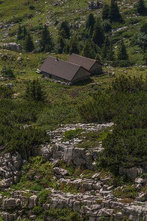 a farm between the beautiful swiss alps near toggenburg, summer Stock Photo - 128611654