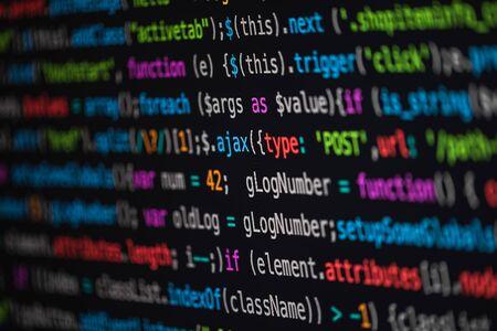 Developer screen with colored website programming code, javascript 版權商用圖片