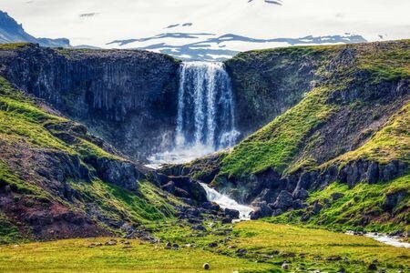 panorama view to kerlingarfoss waterfall near olafsvik on iceland, summer