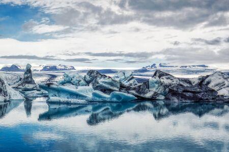 amazing iceberg formations at jokulsarlon glacial lagoon, place of James Bond Film on iceland, summer